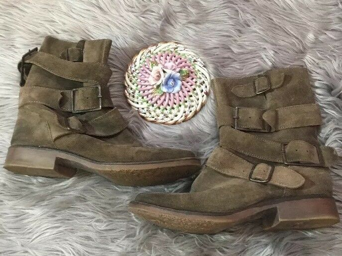 Zigi Soho Crumpet Women Gray  Round Toe Suede Gray Women Beige Mid Calf Boot Size 7 Straps ddc650