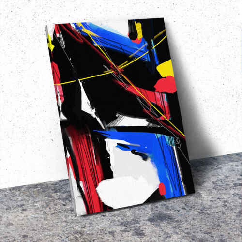 Blue Red Yellow Black Portrait Abstract Canvas Wall Art Large Picture Prints
