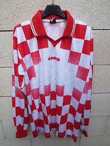 Maillot-football-DIADORA-rouge-blanc-damier-maglia-calcio-shirt-XL