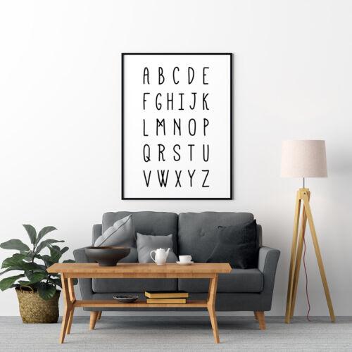 Alphabet Handwriting Style Artwork Children Bedroom Print Nursery Poster
