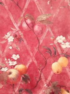 Wallpaper-Designer-Fruit-on-Red-Faux-Harlequin-Trellis-Apple-Plums-Berries-Peach