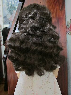 SIZE 12  LIGHT BROWN ANTIQUE MODERN DOLL WIG HAND TIED SYNTHETIC MOHAIR LODAMIA