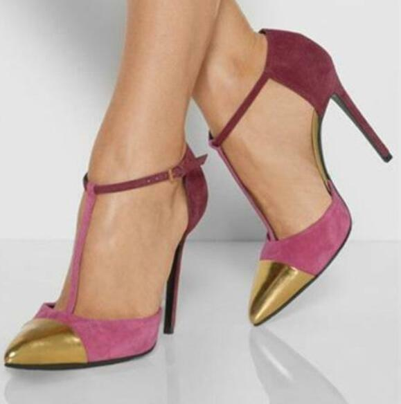 Chaussures femme compensés à bout pointu en daim synthétique Multi Couleur Mariage Bride Cheville Talon Haut Chaussures