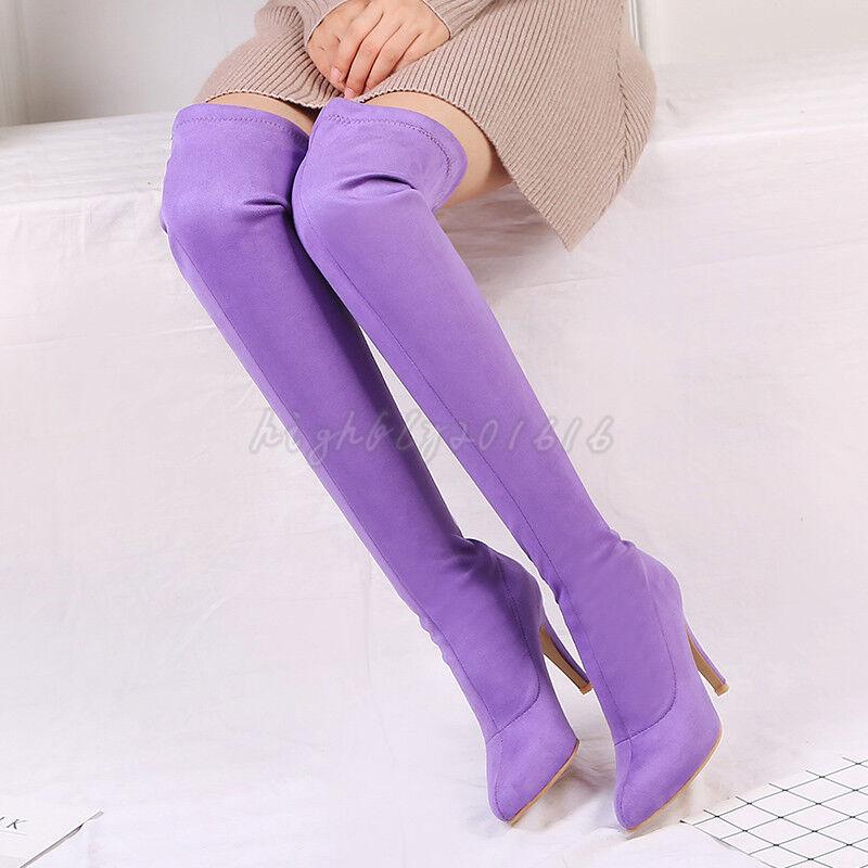 Damen Schuhe Stiefeletten Bonbonfarben Pumps Stiletto 9.5cm hoch Overknee 32-45