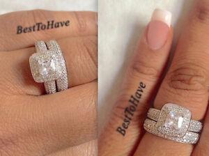 925 Silver Ladies 2 piece Wedding Engagement Cushion Cut Halo Bridal Ring Set