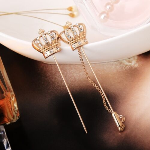 Unisex Fashion Jewelry Crystal Crown Lapel Brooch Pins Badge Wedding Party Gift