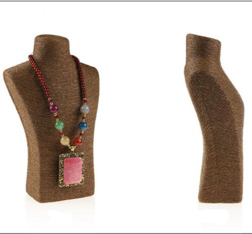 Brown Hemp Rope Twine Neck Jewelry Necklace Display Stand Holder Shelf 11.6inch