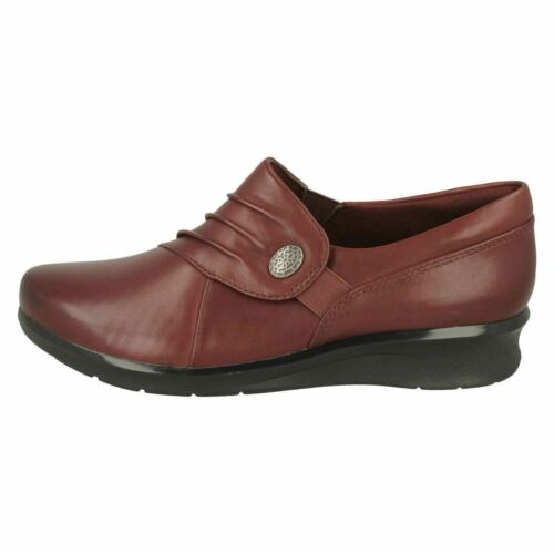 HOPE ROXANNE LADIES CLARKS LEATHER RUCHED LOW HEEL WIDE WORK SLIP ON SHOES