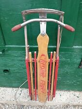 "ANTIQUE Wooden Snow Sledge 42"" Long Flexible Flyer Signed CHROME FLYER Sled"