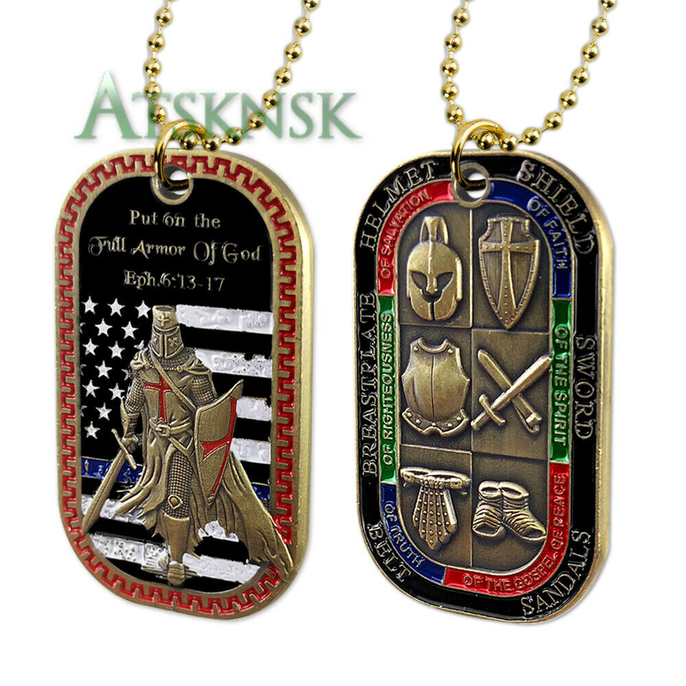d50743e0b8f9a Armor of God EPH 6:13-17 Military Dog Tag Challenge Coin Bible Prayer Emblem