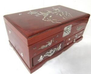 Lg Vintage ASIAN JEWELRY BOX MotherofPearl INLAY 3 Drawer Music