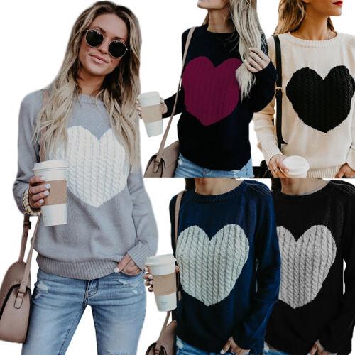 Women Heart Knitted Sweater Long Sleeve Pullover Sweatshirt Winter Jumper Top UK