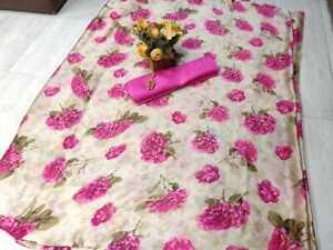 Indian Saree Sari Purple Color Chiffon Wedding Ethnic Wear Floral Print Saree SS