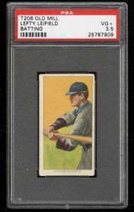 Rare 1909-11 T206 Lefty Leifield Batting Old Mill Pittsburgh PSA 3.5 VG +