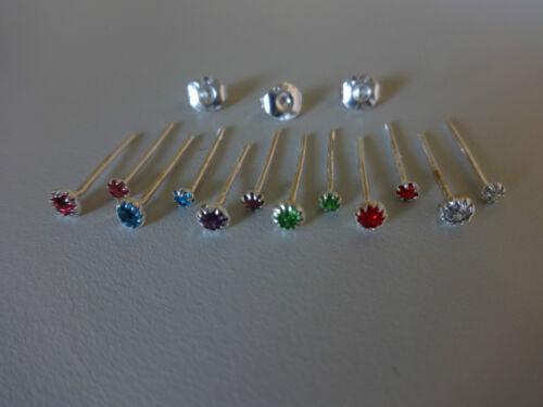 Kristall Ohr Stud Nase 925 Sterling Silber Butterfly plattiert 2+3 mm EAR PLUG