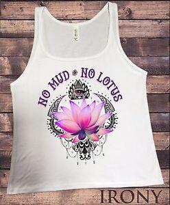"""Women's White T-Shirt /""""No Mud No Lotus/"""" Yoga Flowery Lotus Print TS722"""