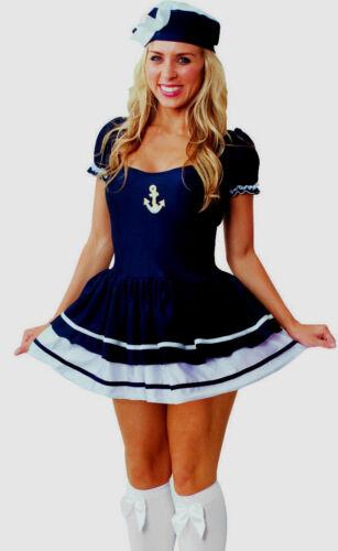 NEW Womens BLACK Sailor Boat Captain Nautical Fancy Dress Ladies Costume