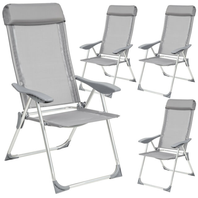 Marvelous Tectake Aluminium Folding Garden Chairs Adjustable With Armrests Set Of 4 Grey Ncnpc Chair Design For Home Ncnpcorg