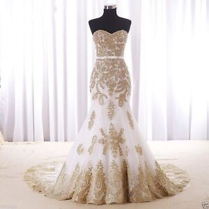 Image Is Loading Gold Lace Mermaid Wedding Dresses Custom Color Plus