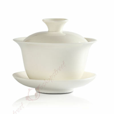 New 100ml Chinese JingDe GongFu Tea Porcelain White Jade Gaiwan teacup Cup