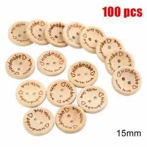 100Pcs-Wooden-Handmade-2-Holes-Buttons-w-Love-Heart-Sewing-Scrapbooking-DIY