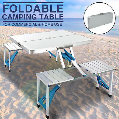 Peachy New Aluminum Folding Portable Camping Picnic Table 4 Chairs Set Outdoor Suitcase Ebay Download Free Architecture Designs Scobabritishbridgeorg