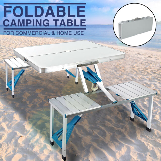 Awe Inspiring New Aluminum Folding Portable Camping Picnic Table 4 Chairs Set Outdoor Suitcase Uwap Interior Chair Design Uwaporg