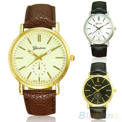 Men's Fashion Casual Geneva Casual Faux Leather Band Quartz Analog Wrist Watch