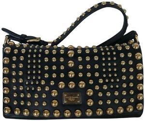 Image is loading Dolce-amp-Gabbana-Black-Leather-Studded-Shoulder-Bag c5ba5f6249b96