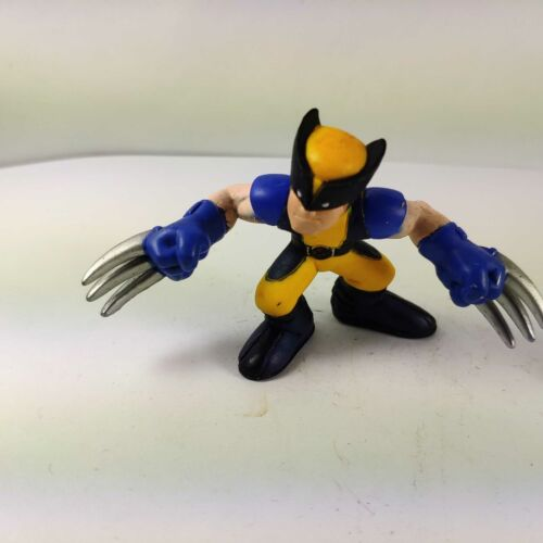 Marvel Super Hero Squad WOLVERINE First Release Blue Yellow Suit Smirk Wave 1