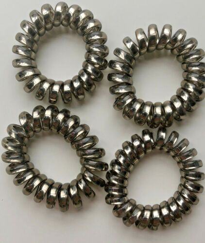 Spiral Coil Wire Hair Bands//Bobbles 4 Pack Metallic Metal Colours