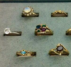 10 Assorted Vintage Rhinestone, Glass, Jade Ring Lot Sizes 6.5 to 10.25