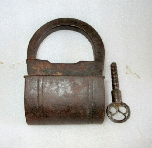1800's Antique Indian Old Solid Iron Hand Carved Unique Shape Big Lock With Key