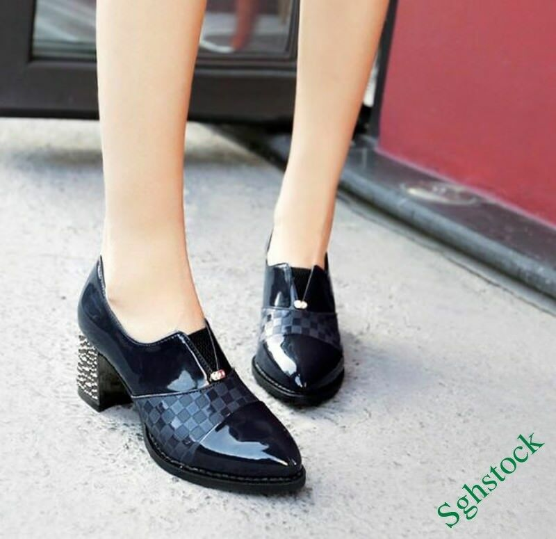 Spring Women's Block OL Patent Leather High Heels Pumps shoes Plus Size Sexy&
