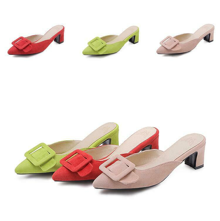 Womens Slip on Block Heels Slippers Casual shoes Pointed Toe Backless Summer New