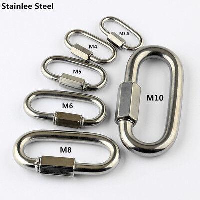 Stainless Steel Quick Link Screw Lock Chain Fastener Hook Carabiner Camping