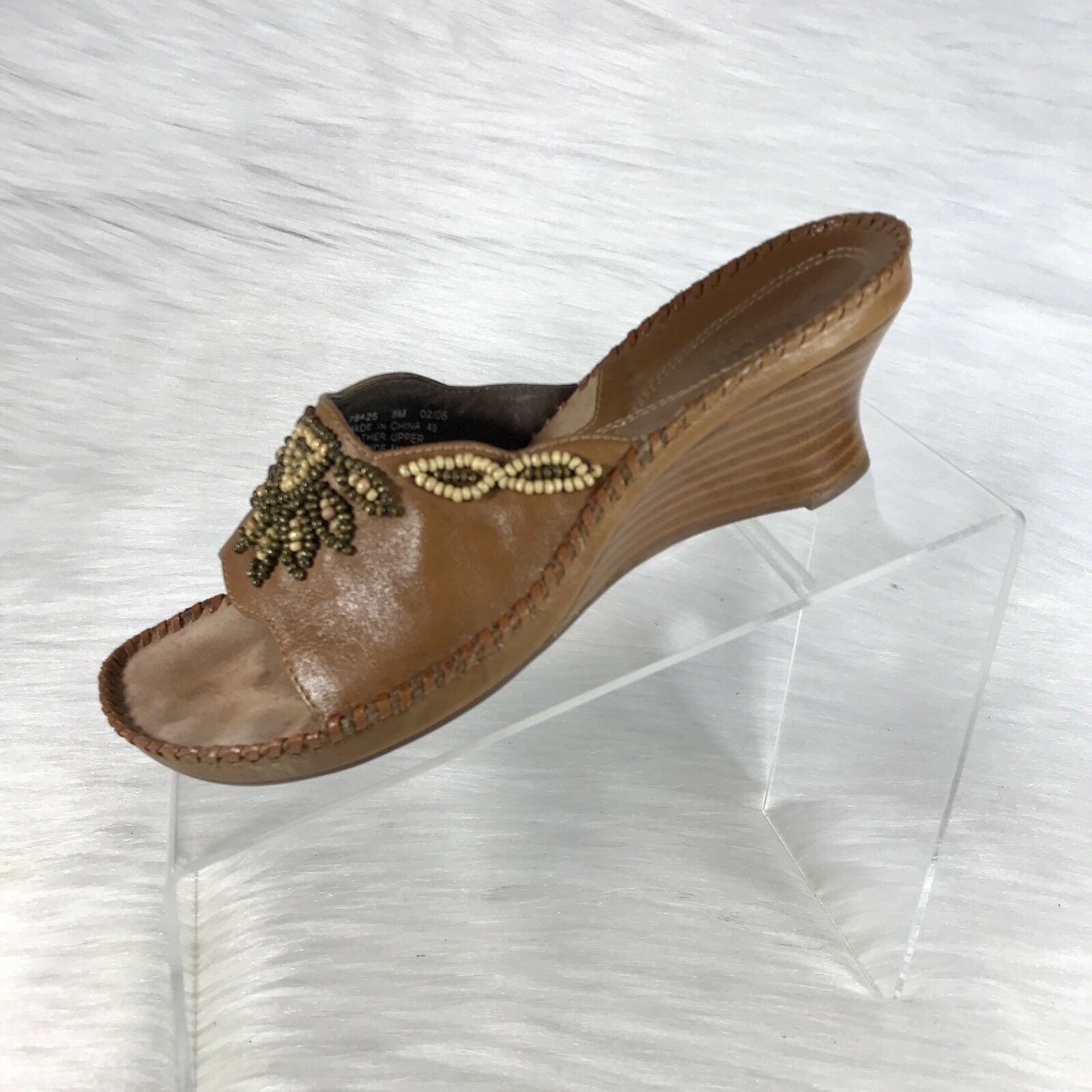 Clarks Artisan Women's Sandals slides Brown Leather Beaded Size 8 M