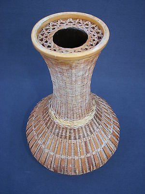 Vintage Chinese Woven Bamboo Weave over Ceramic Vase Shanghai Handicrafts