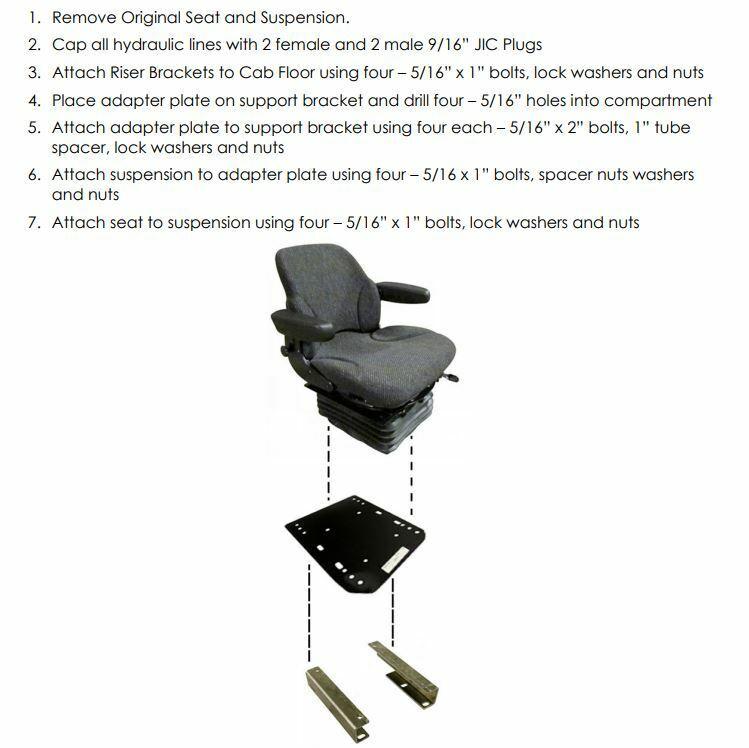 139350 Black Fabric Seat Cushion Set IH 1086 1486 1586 3288 5088 5288 5488 6388