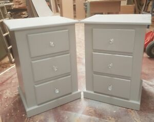 Image Is Loading Handmade Ayury X2 Grey 3 Drawer Bedside Cabinet