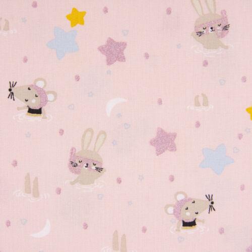 Baumwollstoff Hase Maus Sterne rosa bunt mit Glitzer 1,50m Breite