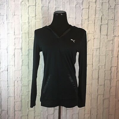 Women's Puma Athletic Top Black Medium Hooded Front Pocket