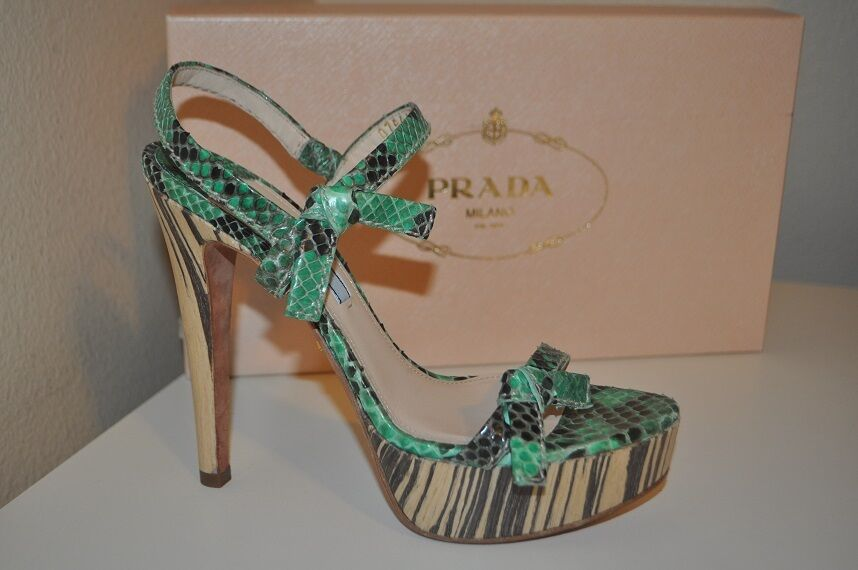 NEW  1200 PRADA Platform Ankle Strap Sandal Python & Wood Leather Heel shoes 37-7
