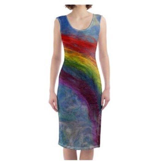 Rainbow Dress Bodycon Handmade Designer Summer Clubwear Festival Boho