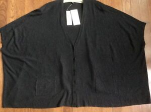 Cardigan Neck Ny Medium Boxy Eileen Hyggelig K1699 Fisher Charcoal V Viscose Med qBg8w