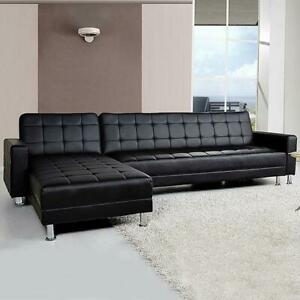 5 Seater PU Faux Leather Corner Sofa Bed Couch With Chaise ...
