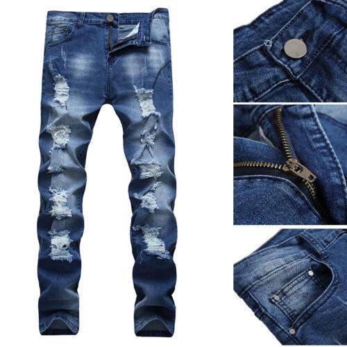 Fashion Men Ripped Skinny Biker Jeans Destroyed Frayed Slim Fit Denim Pants Jean
