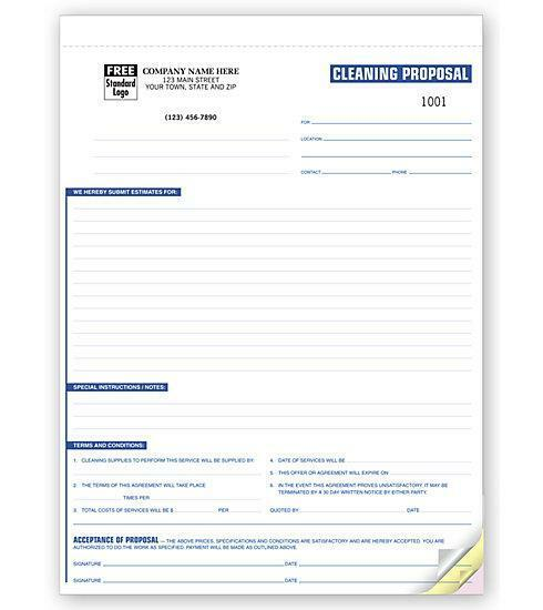 100 Professional Cleaning Proposals 3 Part   NEBS Deluxe No. 6592