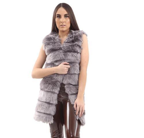 New Ladies Faux Fur Gilet Waistcoat Sleeveless Winter Outwear Warm Jacket Coat