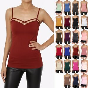 c9d1e7b13eb TheMogan Women s Crisscross Strappy Tank Top Stretch Sexy Layering ...